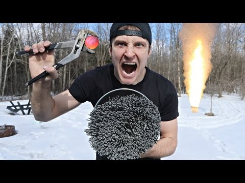 1000 DEGREE METAL BALL vs 10,000+ SPARKLERS (EXTREME DANGER) EXPLOSION?