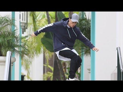 Justin Bieber Shows Off His Skills On An Impromptu Skate Stop [CENSORED]