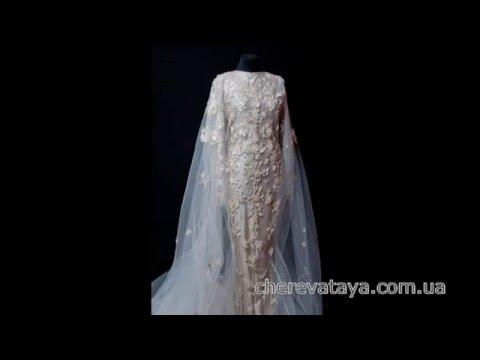 Ручная вышивка свадебного платья со шлейфом (накидкой) Cheka