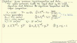 Vapor-Liquid Equilibrium Using the Wilson Equation