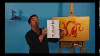 Art Lesson: How To Draw and Paint A Chinese Dragon using Glitter Art and Acrylic Paint