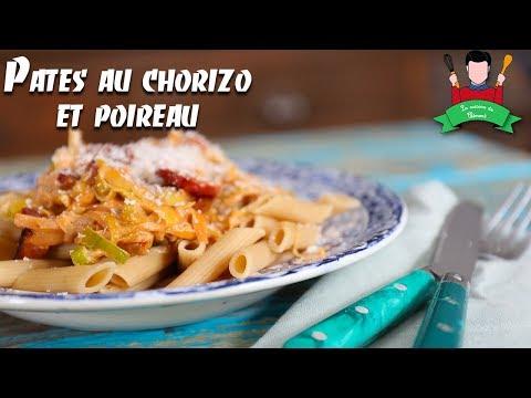 recette-des-pâtes-au-chorizo-et-poireau