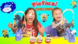 MINIONS PIE FACE CHALLENGE Despicable Me Family Fun Game Kinder Egg Surprise Minions Toys Review