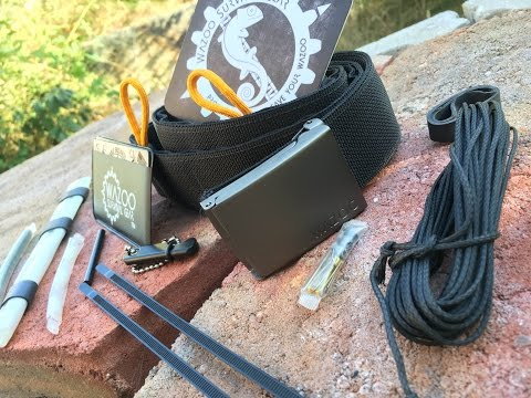 Wazoo Survival Belt: Survival Kit In Your Belt - Fire Steel, Cord, Water Purification, And More