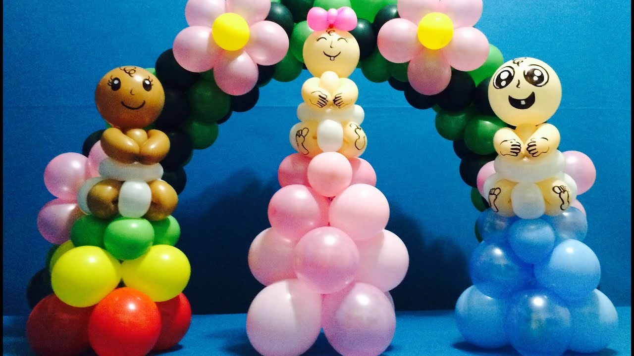 Baby shower balloon decorations youtube for Balloon decoration ideas youtube
