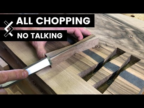 Wood Inlay—No Talking—How to Woodworking