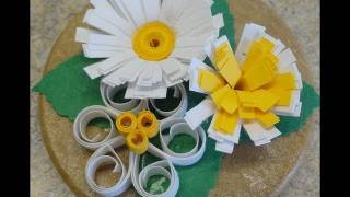 Quilling Fringer Tips / Easy quilled flower trio fridge magnet craft