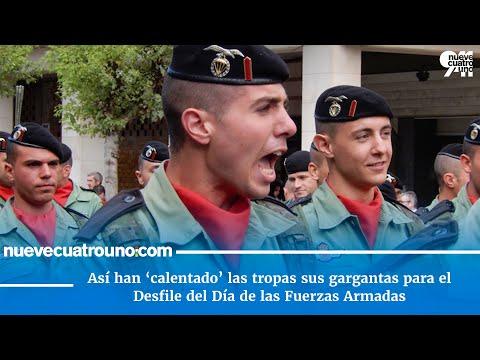 'Calentamiento' de las tropas para el desfile del Día de las Fuerzas Armadas 2018 en Logroño