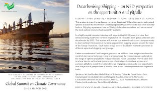 Global Summit: Decarbonising Shipping - a NED Perspective on the Opportunities and Pitfalls