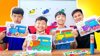 Kids Go to School Learn Colors with Toy minibus adventures! Color Song Nursery Rhymes