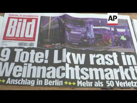 German newspaper headlines on Berlin attack
