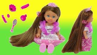 Обзор. Кукла Эви с длинными волосами. Брюнетка