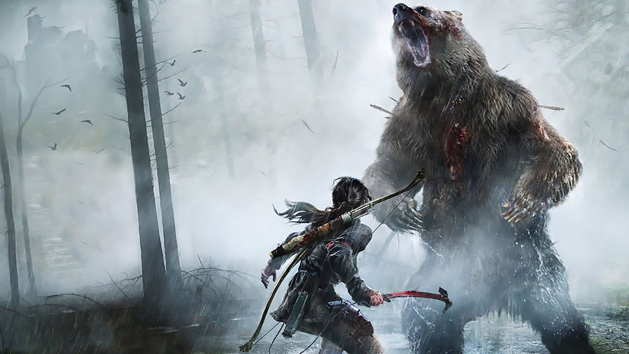 Lara Croft Fights a Bear in Rise of the Tomb Raider - YouTube
