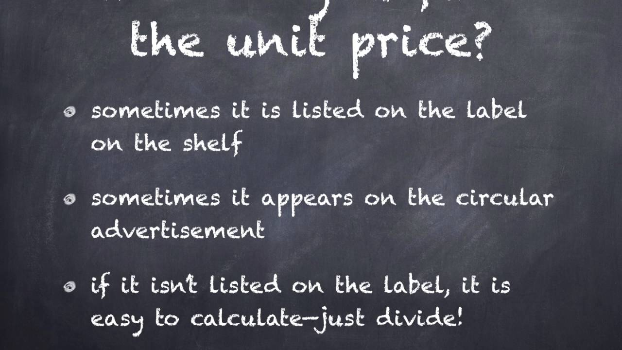 how to find unit price