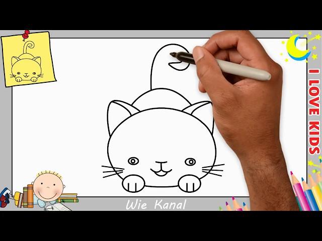 Wie zeichnet man einen Katze schritt für schritt für anfänger & kinder 6