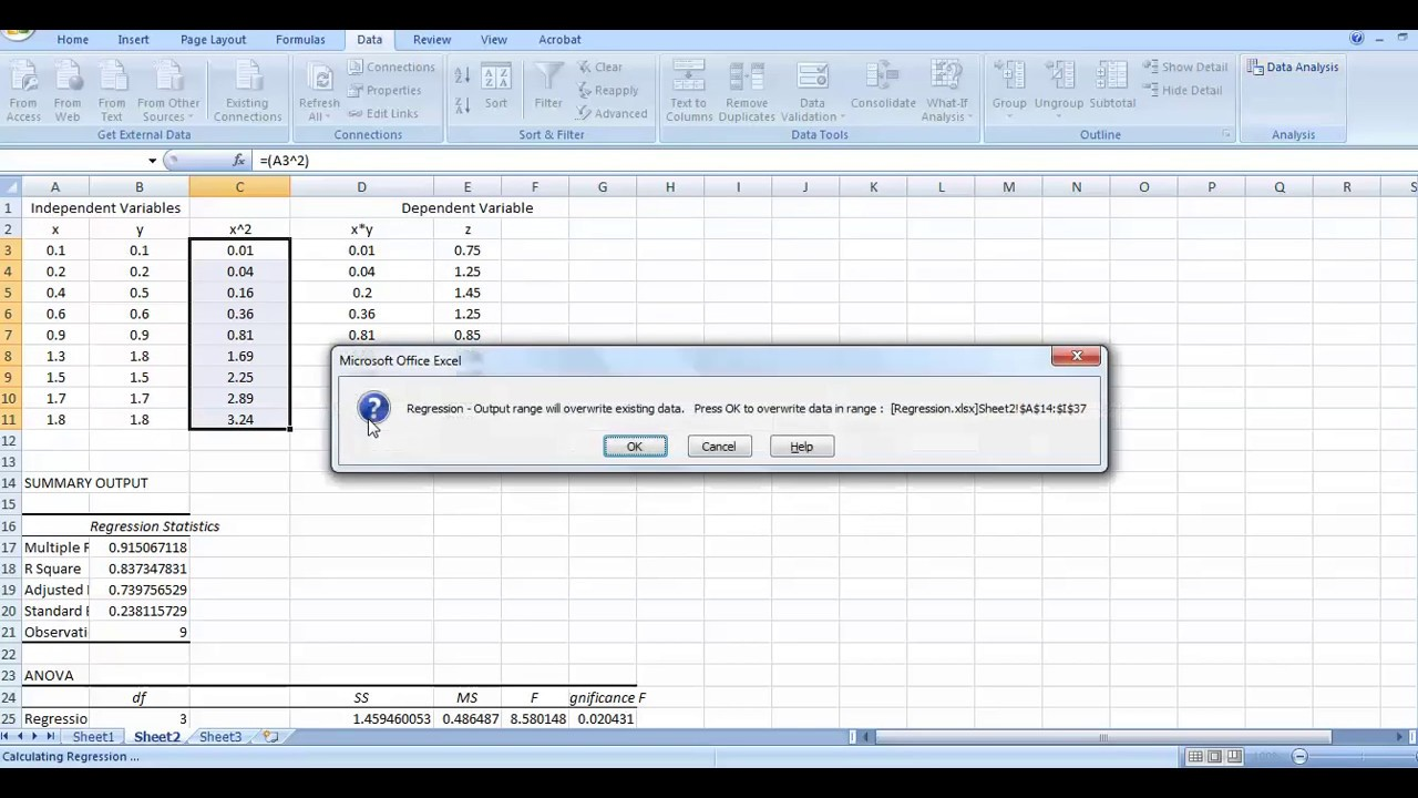 Linear and Nonlinear Multiple Regression Analysis (MATLAB vs Excel) part2