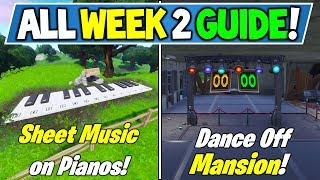 Fortnite WEEK 2 CHALLENGES GUIDE! - SECRET BANNER LOCATION + Piano & Abandoned Mansion (Season 7)