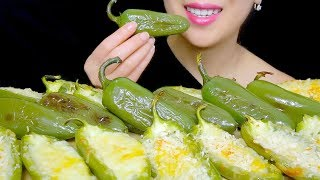 CHEESY BAKED JALAPENO PEPPERS | EATING SOUNDS NO TALKING | TracyN ASMR