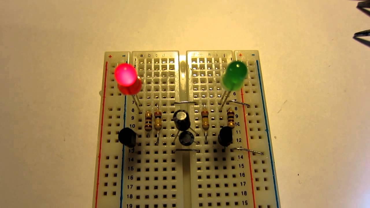 Multivibrator Blinking Led 2 Youtube 555 Flasher One Transistor Circuit 1 5