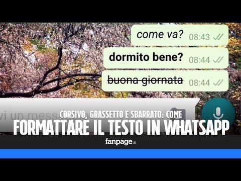 Grassetto, corsivo e sbarrato nel testo di WhatsApp Messenger