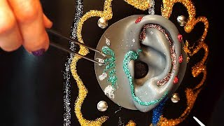 1 Hour ASMR Glitter Glue Ear Cleaning No Talking - B1E Binaural Dummy Head Microphone