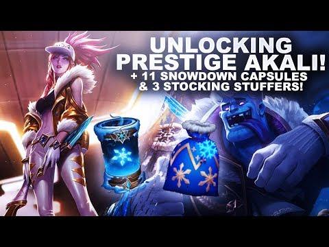 UNLOCKING PRESTIGE AKALI! + 11 SNOWDOWN CAPSULES & 3 STOCKING STUFFERS | League of Legends