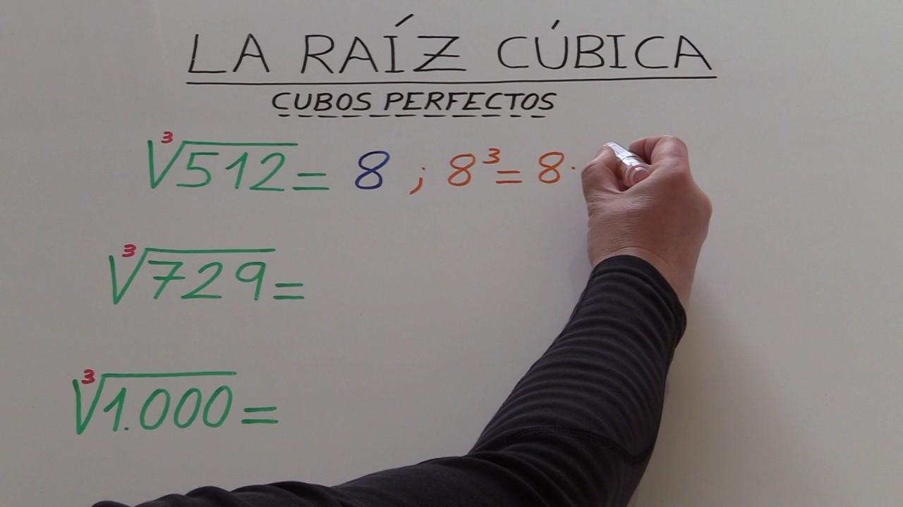 Raíz cúbica de 0, 1, 8, 27, 64, 125, 216, 343, 512, 729 y 1000 ...