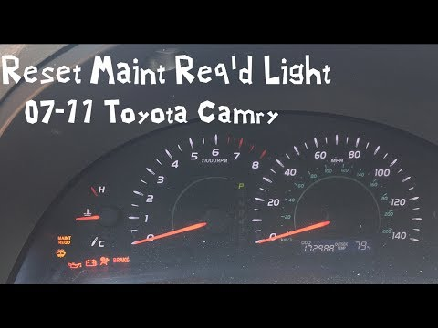 Reset Maint Req D Light 07 Toyota Camry 11 08 09 10 Maintenance Required