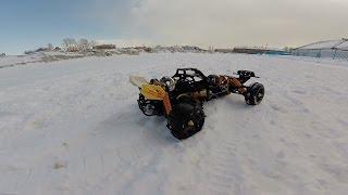 Бензиновая машинка на пульте управления по снегу - HPI BAJA 5B in the snow(Бензиновая машинка на пульте управления по снегу - HPI BAJA 5B in the snow Пробуем как ведут себя колеса ROVAN