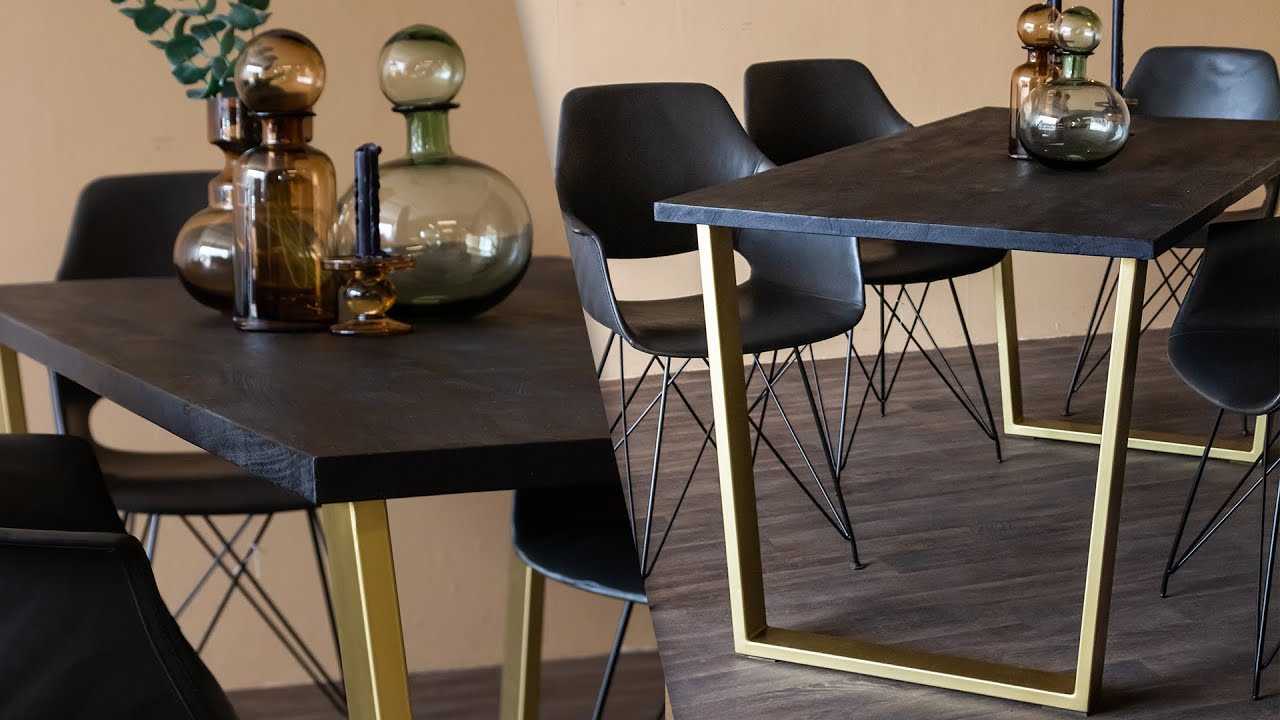 Black Mango Wood Dining Table With Gold Legs Rockett St George Youtube