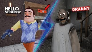 Granny's House TURNS INTO THE NEIGHBOR'S HOUSE!! | Hello Neighbor + Granny Horror Mobile Game (Mods)
