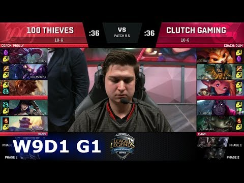 100 Thieves vs Clutch Gaming | Week 9 Day 1 of S8 NA LCS Spring 2018 | 100 vs CG W9D1 G1