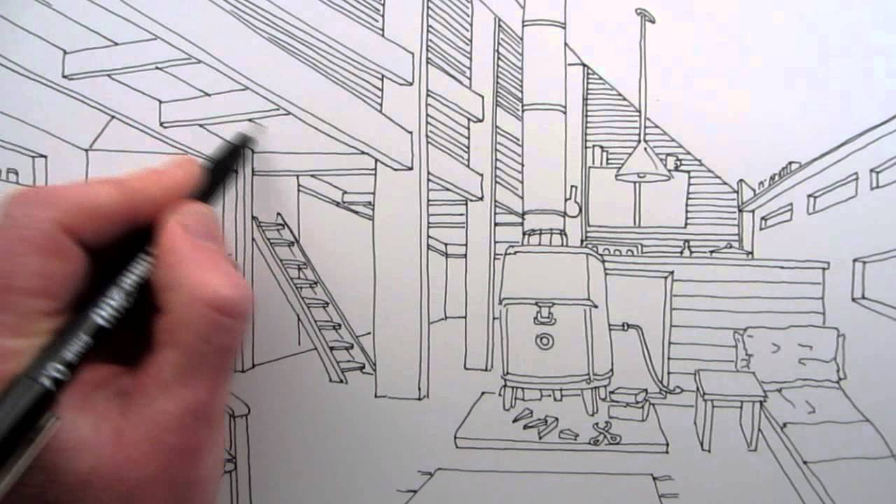 Line Drawing Pictures : How to draw a room narrated line drawing youtube
