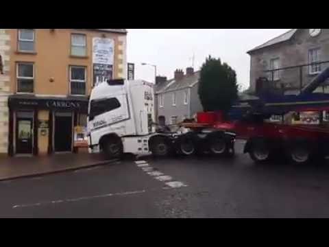 Truck Driver Towing Massive Wind Turbine Expertly Navigates Tiny Irish Town