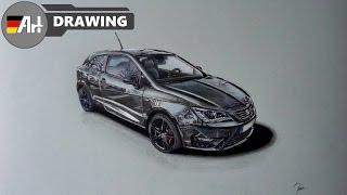 How I draw a car (Seat Ibiza Cupra) - speed drawing