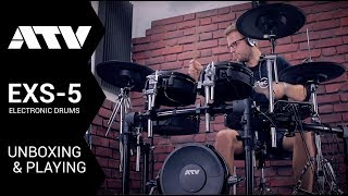 ATV EXS-5 electronic drums unboxing & playing by drum tec