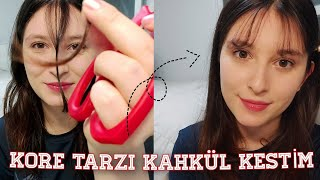 KORE TARZI KAHKÜL KESTİM (Korean Style Bangs) #hair #kahkül #self_hair_cut