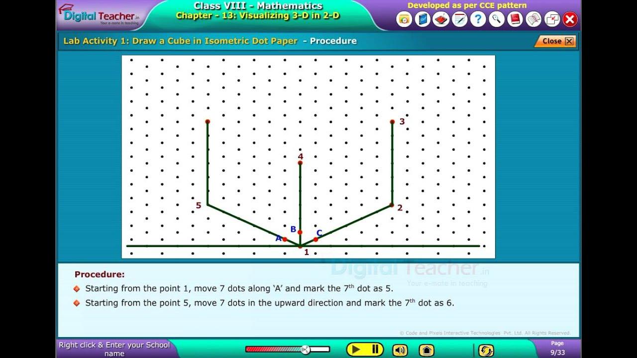 Draw a Cube in Isometric Dot paper, Class 8 Maths | Digital Teacher