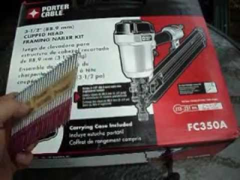 review and unboxing of a porter cable framing nailerfr350a