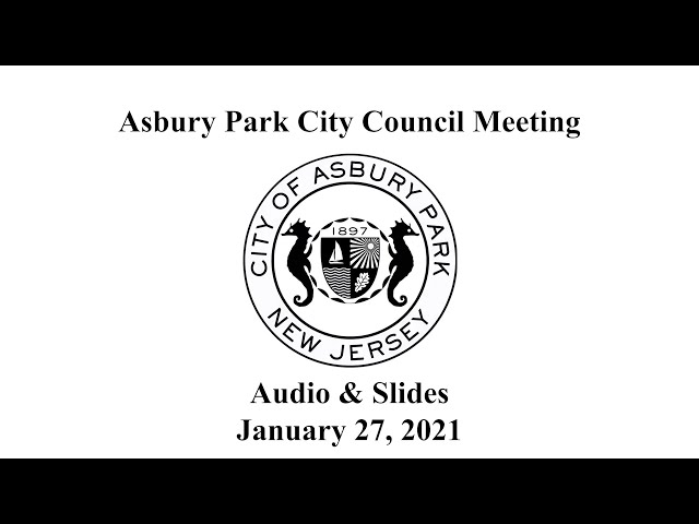 Asbury Park City Council Meeting - January 27, 2021