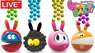Learn Colors with Bunny Mold GumBalls 🔴LIVE | WonderBalls Cartoon | Funny Cartoon Video for Kids