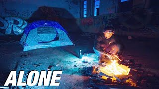 SOLO Overnight Camping Iฑ An Isolated ABANDONED Prison - Coyotes Attack Campsite! Ep. 1