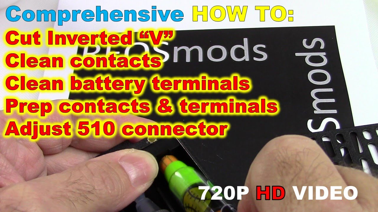 How to clean contacts, batteries, cut feed tube & adjust 510 connector
