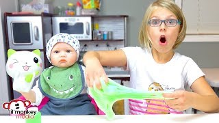 👶🏼 My Reborns! New Squishies and Making Fluffy Glitter Slime with Hunter!