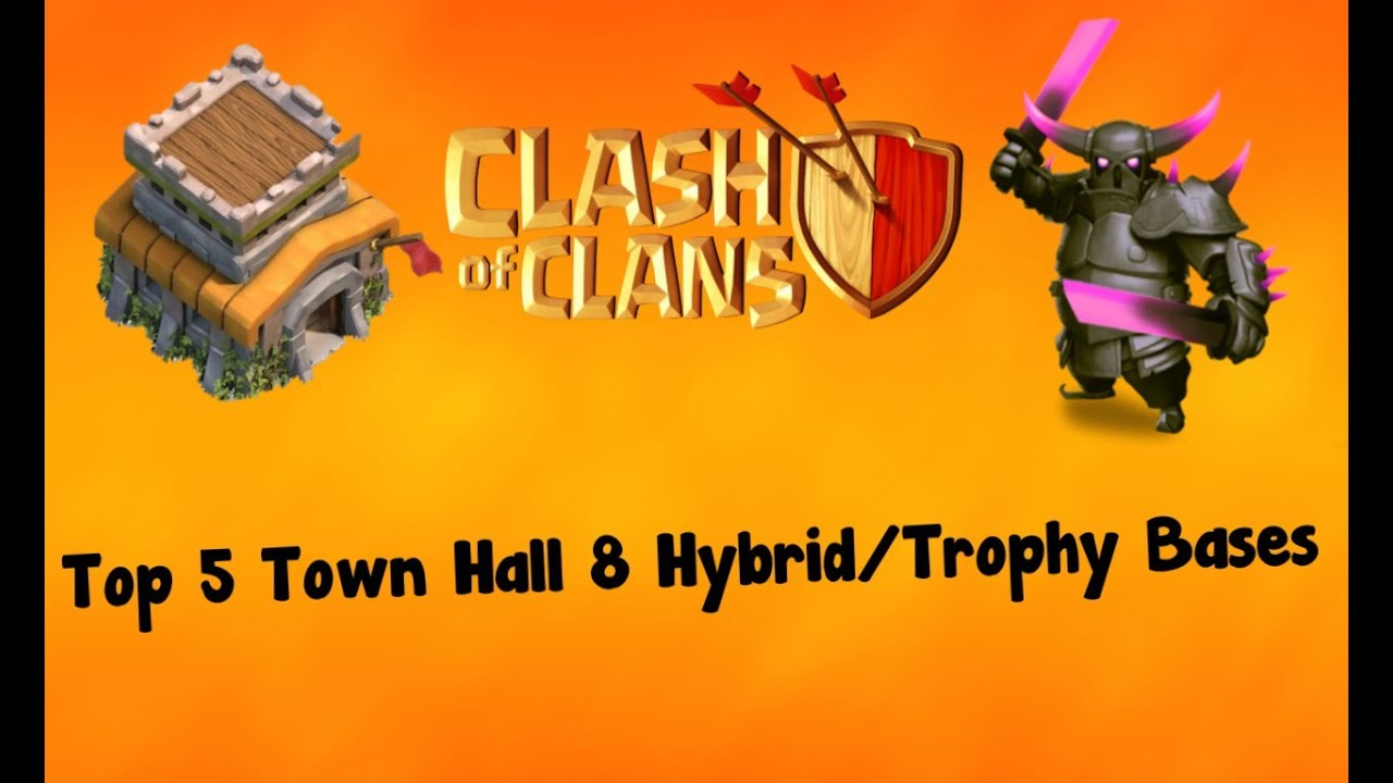 Top 5 town hall 8 hybrid trophy bases youtube