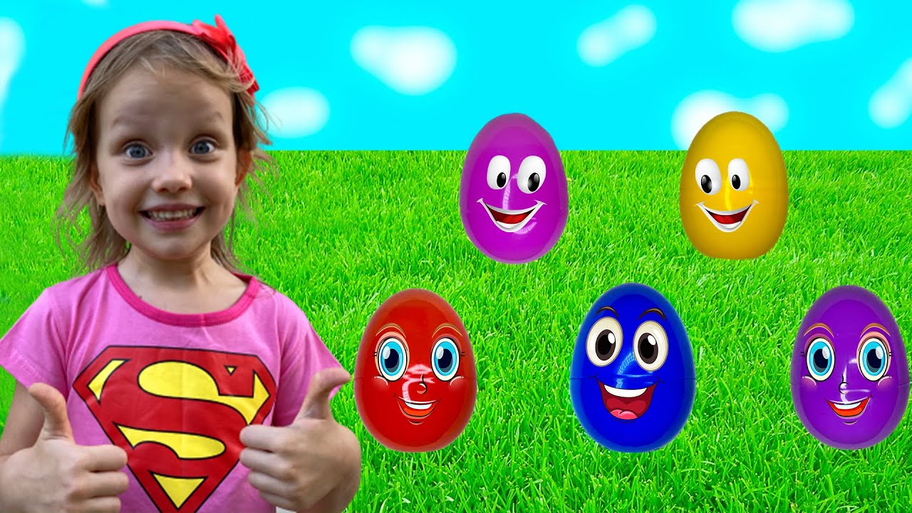 Alex and Nastya likes to play with Colored Eggs on the farm - old macdonald had a farm song