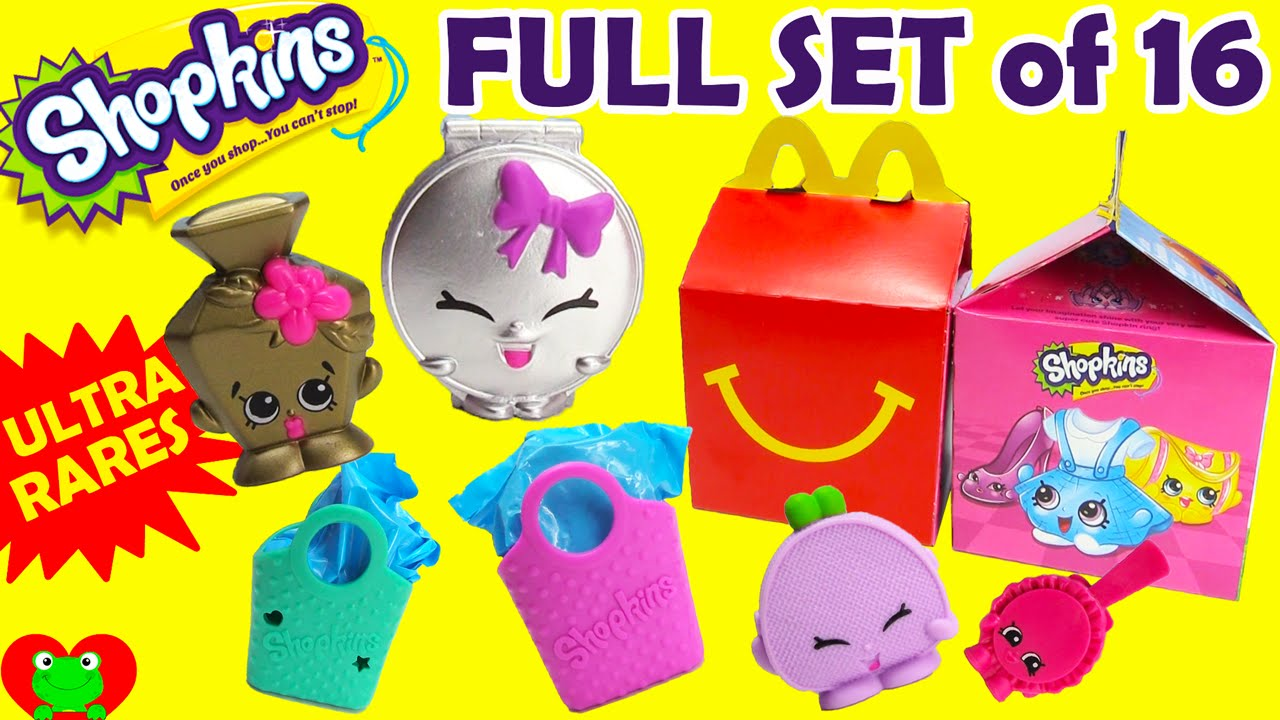 Shopkins Mcdonalds Happy Meal Toys Full Set Of 16 Youtube