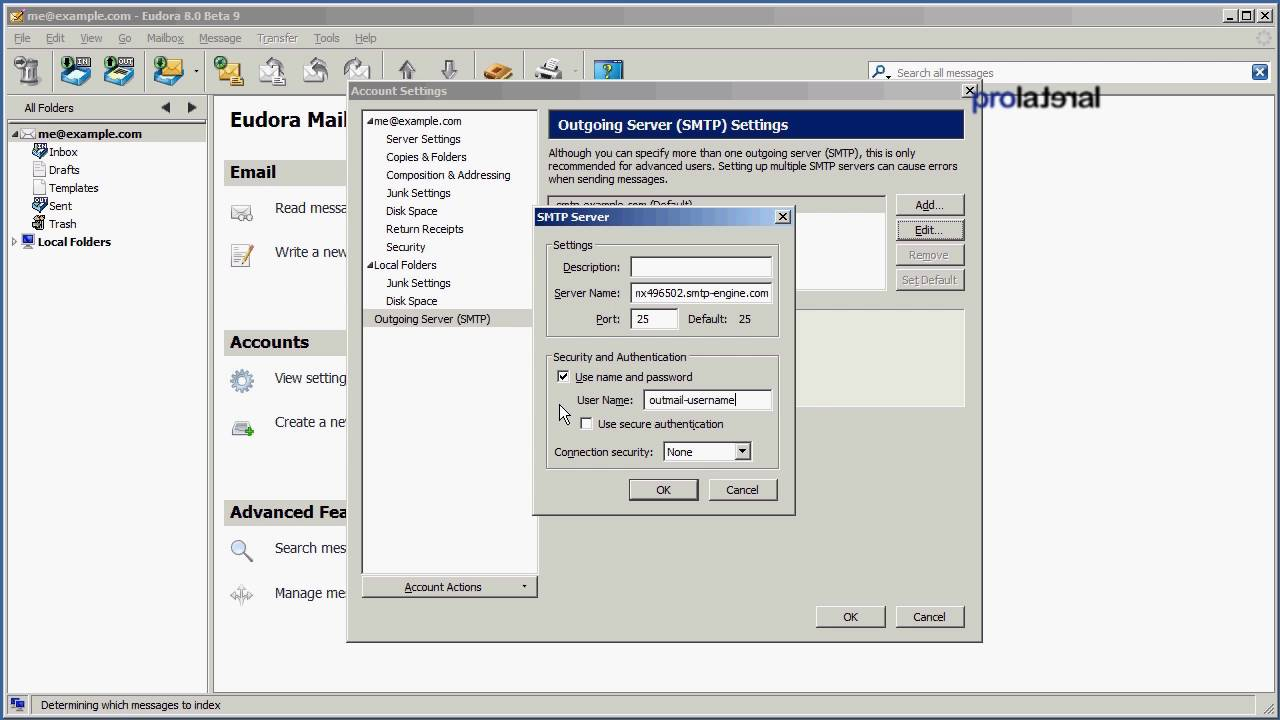 How to setup Eudora Mail 8 to use outMail - YouTube