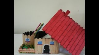 Pen holder diy. How to make,  from popsicle sticks and cardboard.