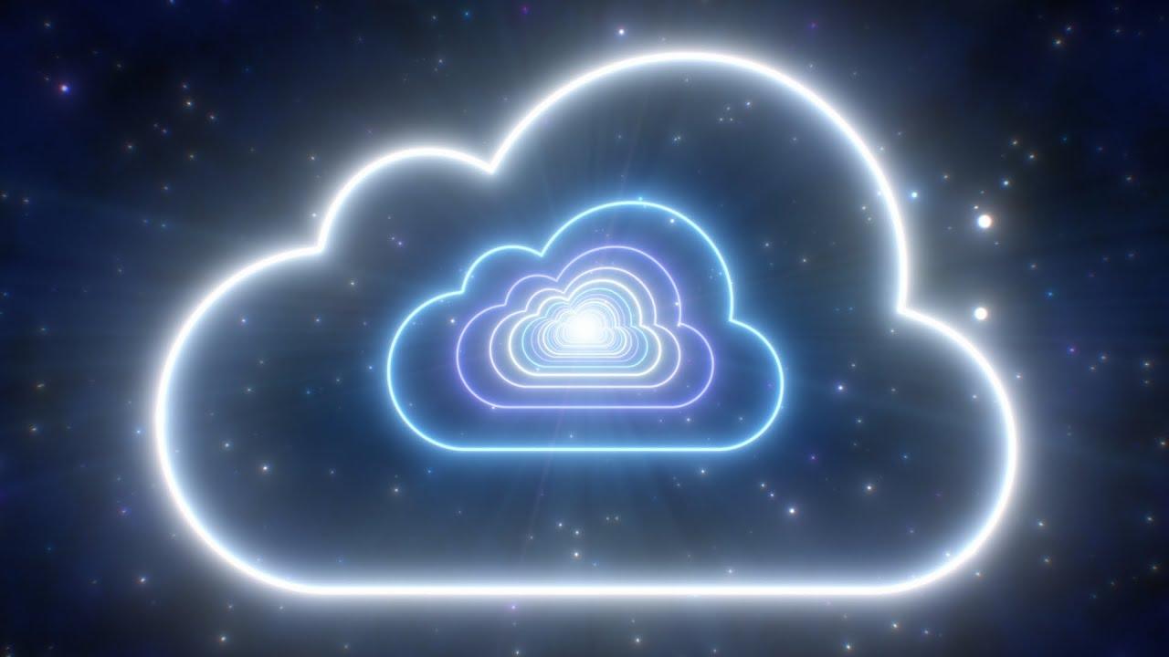Download Neon Cloud Shape Tunnel Moving in Dark Blue Night Sky Glowing Lights 4K TikTok Trend Background